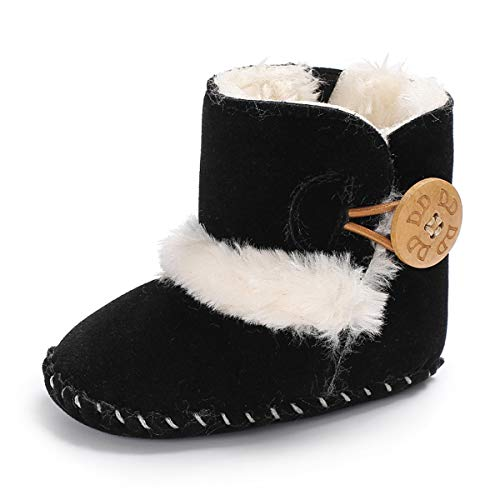 Baby Girls Boys Plush Snow Boots Soft Sole Anti-Slip Mid Calf Winter Warm Infant Toddler Outdoor Shoes (11cm(0-6 months), A-Black) ()