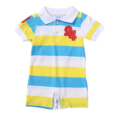 AJia Baby Unisex Clothes Polo Style Striped Cotton Romper 3 Color for 3-24m Boy and Girl (18-24 Months, Yellow) (Boys Polo Style Romper)