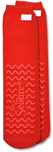 Secure (4 Pairs) Ultra Soft Non Slip Grip Slipper Socks, Red - Fall Injury Prevention Hospital Tread Sock for Safety, Comfort and Warmth by Secure (Image #1)