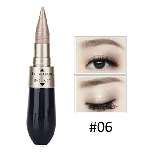 DMZing Silky Soft Dual Use Eye Liner Double-end Waterproof Liquid Eye Shadow Paste Combination Easy to Wear Makeup (7 Color-F)