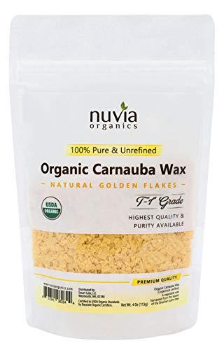 Nuvia Organics USDA Certified Carnauba Wax, 100% Vegan - Great for DIY Cosmetics, Food Grade, Various Uses, 4 Oz ()