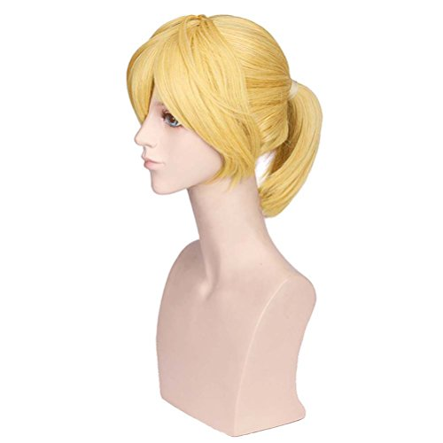 BERON Short Straight Blonde Wigs with Ponytail for Costume Party or Daily Use Hairnet Included]()