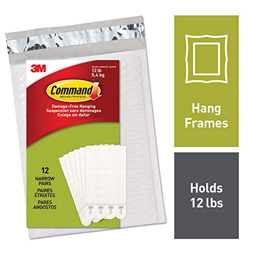 (Command Narrow Picture Hanging Strips, White, 12-Pairs (PH207-12NA))