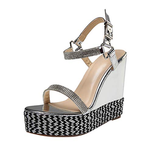 ◕‿◕Watere◕‿◕ Women Summer Comfortable Flat Fashion Lady Large Size Waterproof Platform Word Buckle Sandals Wedge Shoes Silver