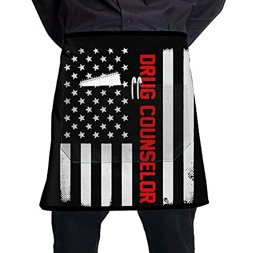 Yeqova Men & Women Short Aprons Drug Counselor US Flag Flower Shop Sleeveless Anti-Fouling Overalls Portable Pocket Design