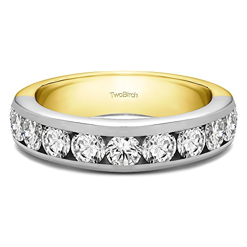 0.1Ct 10 Stone Channel Set Wedding ring in 14k Two-tone Gold Diamonds G,I2(Size 3 to 15 in 1/4 (0.1 Ct Channel Set)