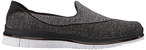 Donna Skechers Black Flex White Go Sneaker tHHPq