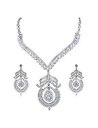 Ever Faith Bridal Silver-Tone Peacock Necklace Earrings Set with Clear Austrians Crystal A03771-13