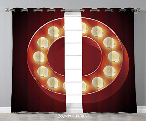 (Grommet Blackout Window Curtains Drapes [ Letter O,Entertainment World in Vegas Theme Vintage Casino Nightclub Theater Typeset,Ruby Yellow Black ] for Living Room Bedroom Dorm Room Classroom Kitchen C)
