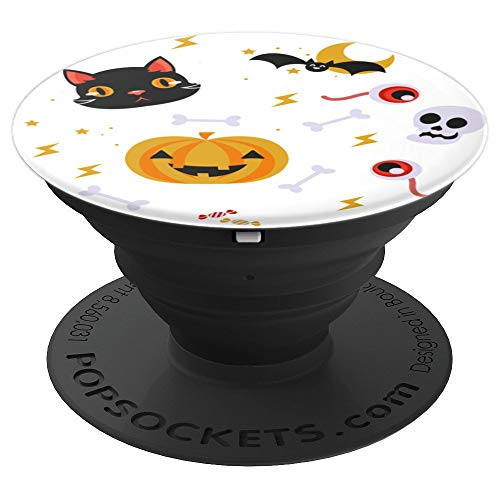Black Cat Pumpkin Bat Skull Eyes Halloween Pattern - PopSockets Grip and Stand for Phones and Tablets -