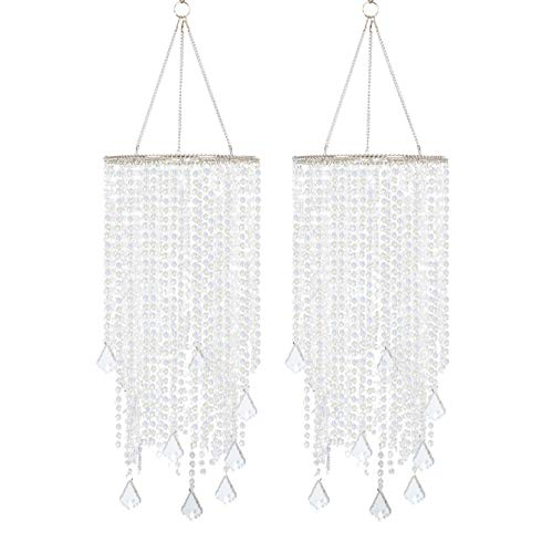 FlavorThings 2pcs Clear Beaded Hanging Chandelier,W8.5