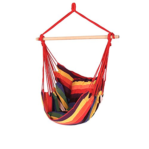 Sunnydaze Hanging Hammock Chair Swing, Sunset, for Indoor or Outdoor Use, Max Weight: 264 pounds, Includes 2 Seat Cushions by Sunnydaze Decor