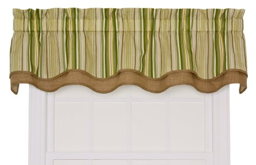 - Ellis Curtain Kensington Stripe 70-By-15 Inch Bradford Valance, Green