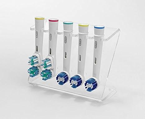 Plastic Online Ltd Supporto per 5 testine di spazzolini elettrici colori assortiti White