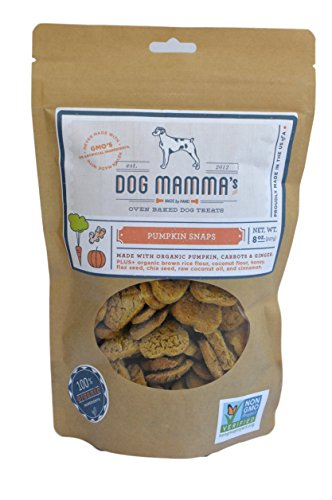 Deliciously Healthy Dog Biscuits - Dog Mamma's Organic Dog Treats - Pumpkin Snaps - 8 oz Pumpkin Carrot & Ginger ALL NATURAL Treats NO CHEMICALS or PRESERVATIVES NO GMO's Made in USA 100% Organic Ingredients