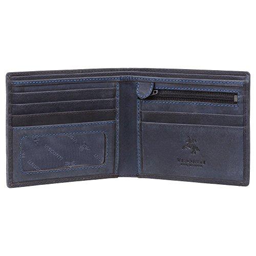 Visconti Leather Visconti Blue Rfid Oil Wallet Wallet Hunter 707 Shield Z5a5Yqv