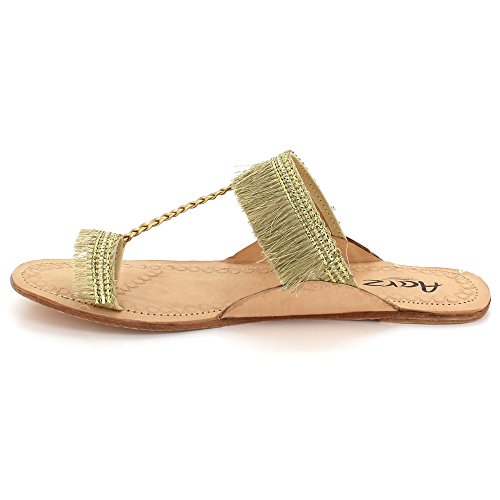 AARZ LONDON Womens Ladies Velvet Authentic Kolhapuri Chappal Open Toe Casual Comfort Slip-On Flat Sandals Shoes Size Light Gold R4sw8t