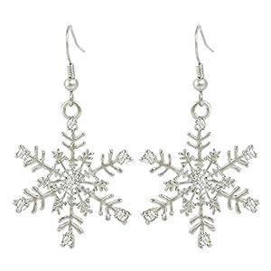 EVER FAITH® Austrian Crystal Winter Party Snowflake Pierced Hook Dangle Earrings Clear
