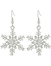 Austrian Crystal Winter Party Snowflake Pierced Hook Dangle Earrings Clear