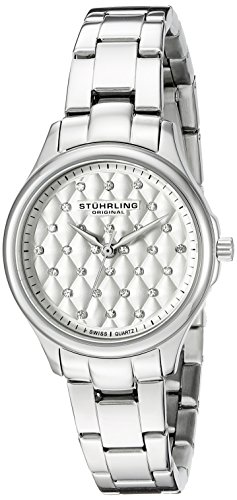 Stuhrling Original Women's 783.01 Symphony Swiss Quartz Crystal Accented Stainless Steel Link Bracelet Watch