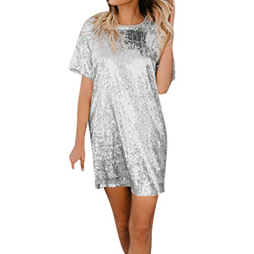(T Shirt Dress for Women Casual,SMALLE◕‿◕ Women's Swing Loose T-Shirt Fit Comfy Casual Flowy Sequin Tunic Dress Clubwaer Silver)