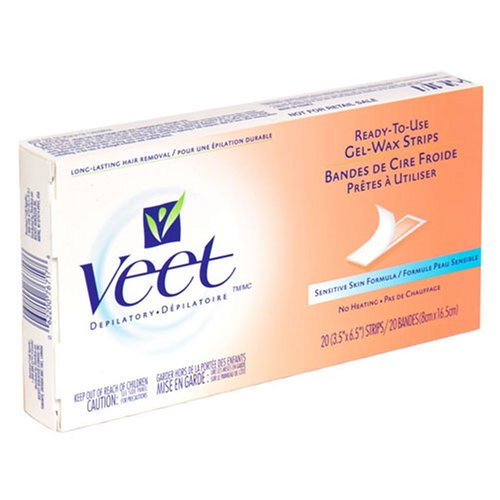Veet Ready-To-Use Gel-Wax Strips, Sensitive Skin Formula - 20 ea