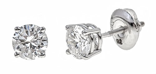 AGS Certified 14k White Gold Round-Cut Diamond Stud Earrings (1cttw, K-L Color, I2 Clarity)