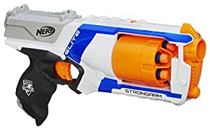 Strongarm Nerf N-Strike Elite Toy Blaster with Rotating Barrel, Slam Fire, and 6 Official Nerf Elite Darts for Kids, Teens, and Adults