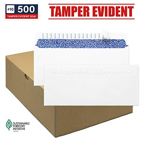 - #10 Security Envelopes, Tamper Evident Slits, Self-Seal, Windowless, Full-Block Tint Pattern, Business or Personal Mailing, White, 24 LB, 500 Count