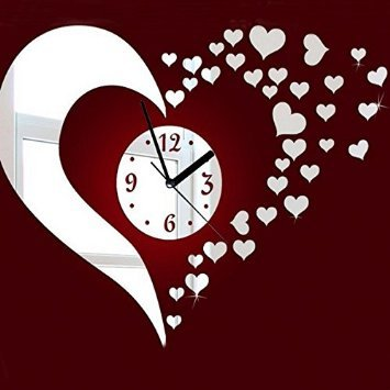 DIY 3D Heart Mirror Decoration Wall Clock Living Room