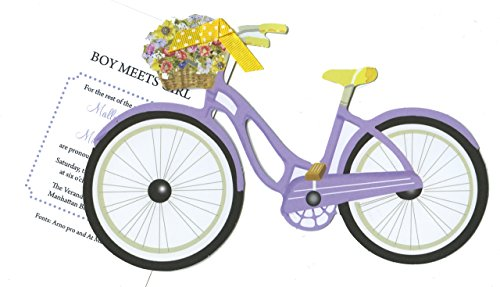 AW1007W Bicycle with Flowers and glitter