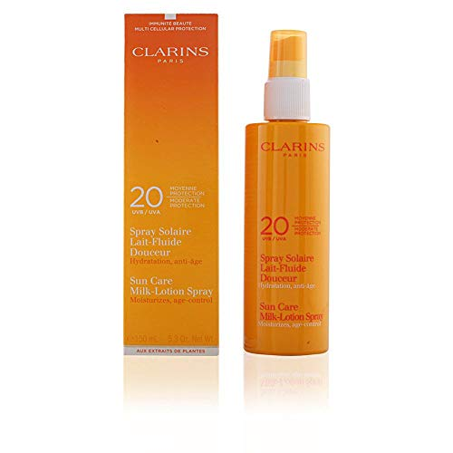 - Clarins Moderate Protection UVB/UVA 20 Sun Care Milk-Lotion Spray, 5.3 Ounce