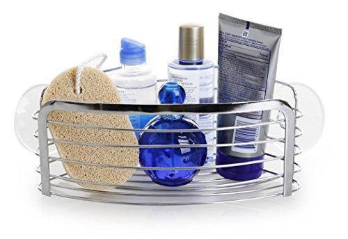 BINO Suction Chrome Shower Caddy, Corner Basket