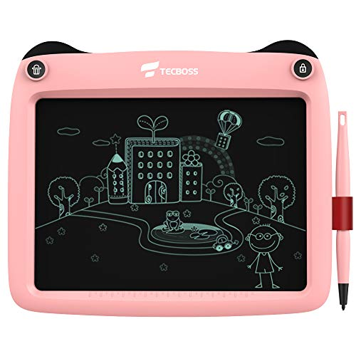 TECBOSS LCD Writing Tablet 9 inch, The Best Gift Electronic Drawing and Writing Board for Kids & Adults, Handwriting Paper Doodle Pad for School and Office (Pink)