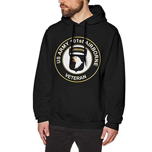 Bohoustore U.S. Army Veteran 101st Airborne Division Men's Hooded Sweatshirt Black ()
