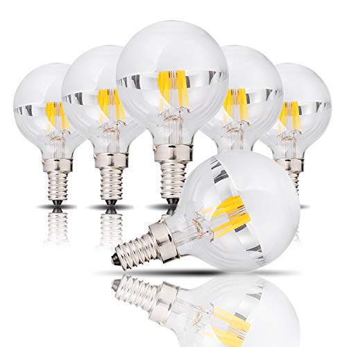 (4 Watts Half Chrome LED Bulb, G45/G14 Silver Bowl LED Vertical Filament Light Bulb with Mirror E12 Candelabra Base Light 32 Watt Equal Warm White 2700K UL-Listed Non-Dimmable 6 Pack )