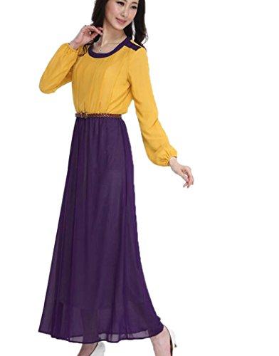 Aro Lora Musulman Patchwork Caftan Manches Longues Islamic Maxi Robe Orange Femmes
