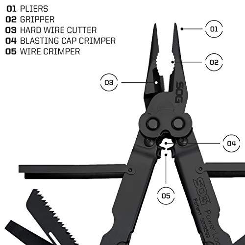 SOG Black Multitool Pliers Pocket Tool – PowerLock EOD Multi Tool Locking Knife with Sheath, Utility Tool Pliers, 18 Small Multi Tools (B61N-CP) by SOG (Image #3)