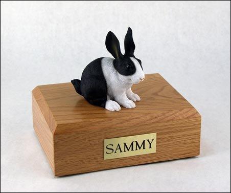 GENUINE North American Hardwood and Rabbit Bunny Figurine Urn Black & White Small (Urn Figurine White)