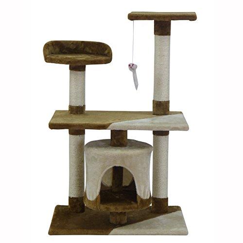 Kratzbaum Katzenkratzbaum Katzenbaum Sisalsäule mit Spielseil und Liegemulde 95 cm Braun&Beige