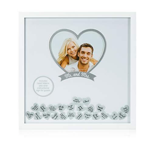 Pearhead 'Mr. & Mrs.' Wedding Wishes Frame, Cherish Wedding Memories, Alternative Guest Book -