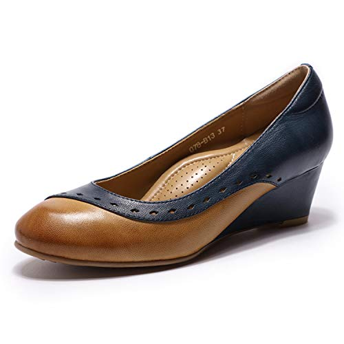 Mona flying Womens Leather Pumps Dress Shoes Med Heel Rounded Toe High Heels for Women Office Wedding Brown-Blue ()