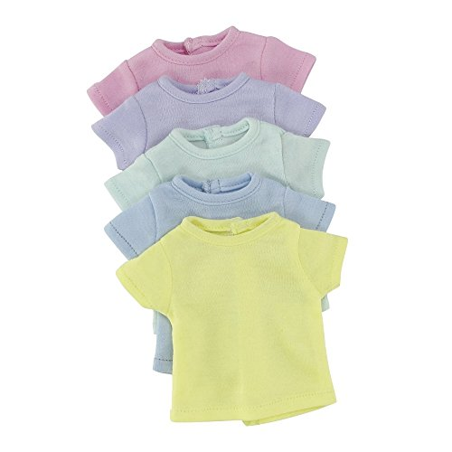 14 Inch Doll Clothes/Clothing | Rainbow T-Shirts Value Set - 5 Different Pastel Colors | Fits American Girl Wellie Wishers - Heart Shoes Yellow Doll