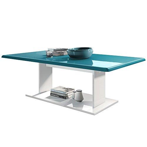 Turquoise Avec Brillance Basse Plateau Table Salon Blanc Mono Haute Dessus De En 8wPk0nO