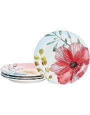 Bico Ceramic Salad Plates Set of 4, for Salad, Appetizer, Microwave & Dishwasher Safe