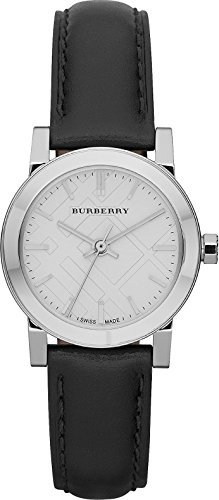 Burberry BU9206 Women's Black Leather Strap White Dial Watch