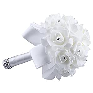 ChainSee Fashion Design Crystal Roses Pearl Bridesmaid Wedding Bouquet Bridal Artificial Silk Flowers New 2017 (White) 49