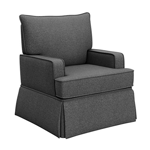 Storkcraft Davenport Upholstered Swivel Glider, Shadow Cleanable Upholstered Comfort Rocking Nursery Swivel Chair