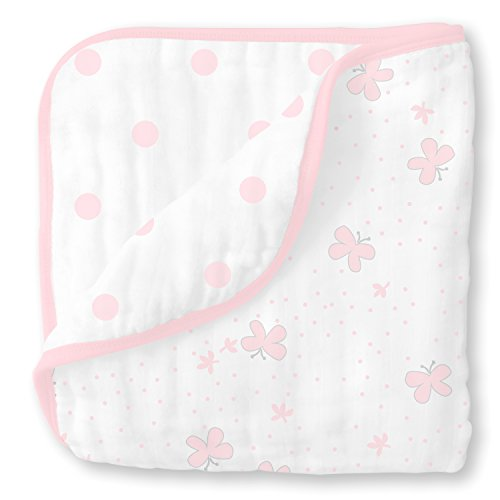 Luxury Layette - SwaddleDesigns 4-Layer Cotton Muslin Luxe Blanket, Cuddle and Dream, Pastel Pink Butterflies and Dots