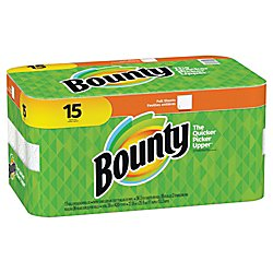 Bounty 2-Ply Paper Towels, 11in. x 10 1/4in, White, Pack of 15 Rolls